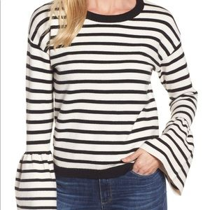 Halogen Bell Sleeved Striped Sweater